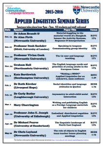 Applied Linguistics Seminar Series 2015-16 schedule