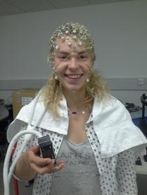 Nikki wearing EEG headset