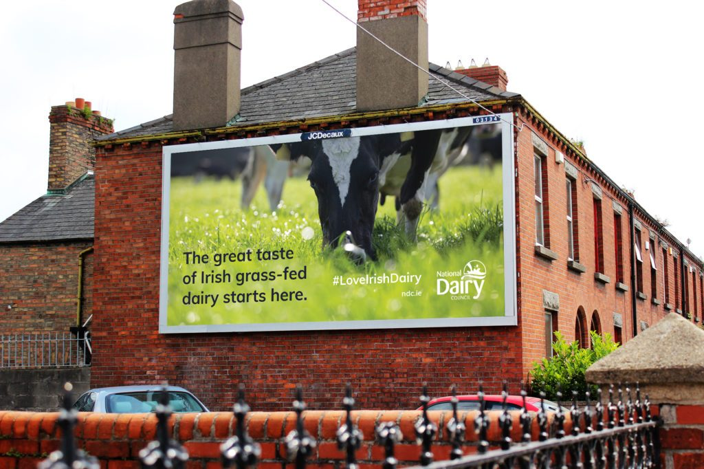 A Billboard from the Irish Dairy Council's November 2019 #LoveIrishDairy campaign.