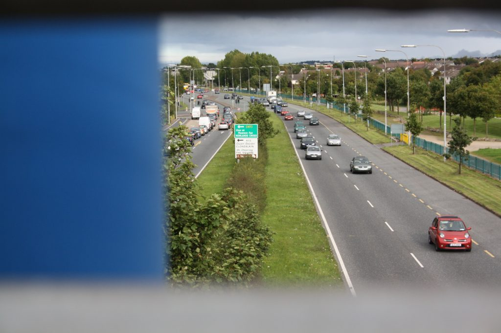 A photograph from a bridge in Tallaght, Dublin, showing the road networks entering and leaving the industrial suburb
