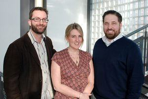 Pictured with Dr Elizabeth Gibson are Huddersfield chemists Dr Paul Elliott (left) and Dr Jason Camp (right).