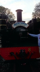 Picture of the front of the stream train which took delegates to Devil's Bridge, with the journey sponsored by Bernard Geomatics