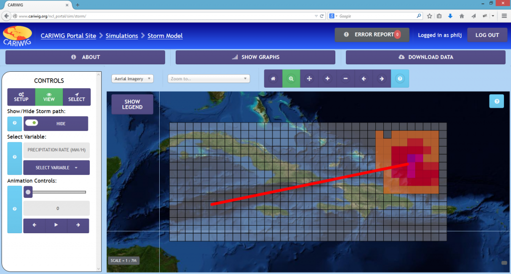 Tropical storm model on the portal