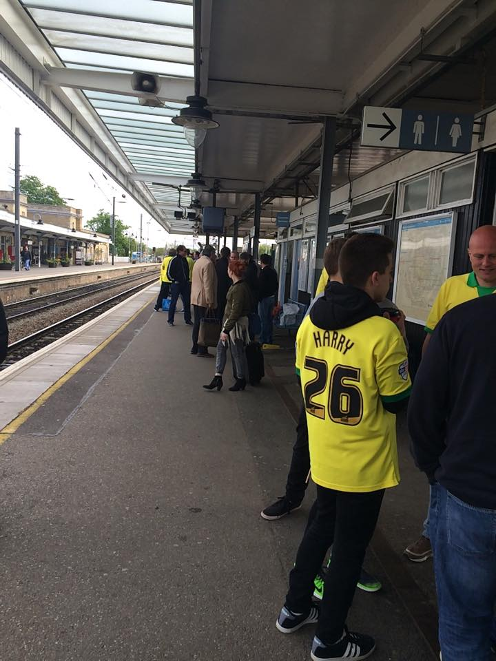 Norwich Fans getting the train to Wembley (happy days....)
