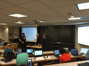 Fig 1. Professor Dan Bara and students were discussing about network metrics.