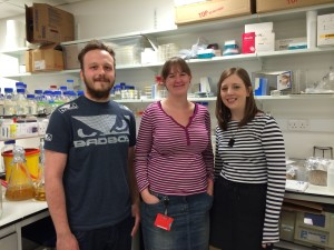 Researchers Max Temple, Lis Lowe and Fiona Cuskin of the Gilbert lab.