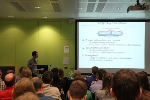 One of our postdoctoral researcher speakers, Yoshi Kawai, addresses the Symposium audience on the subject of L-forms