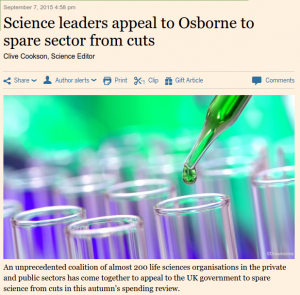 Lettter in FT calling on the Chancellor not to cut science funding (Sept 7, 2015)