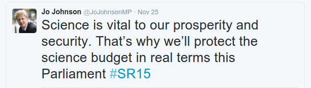 Science Minister commenting on Science Budget announcement in Spending Review 2015 on Tweeter