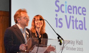 Science is Vital chair, Dr Jenny Rohhn,  and  vice-chair, Prof Stephen Curry, at the rally in London, 26th October 2015