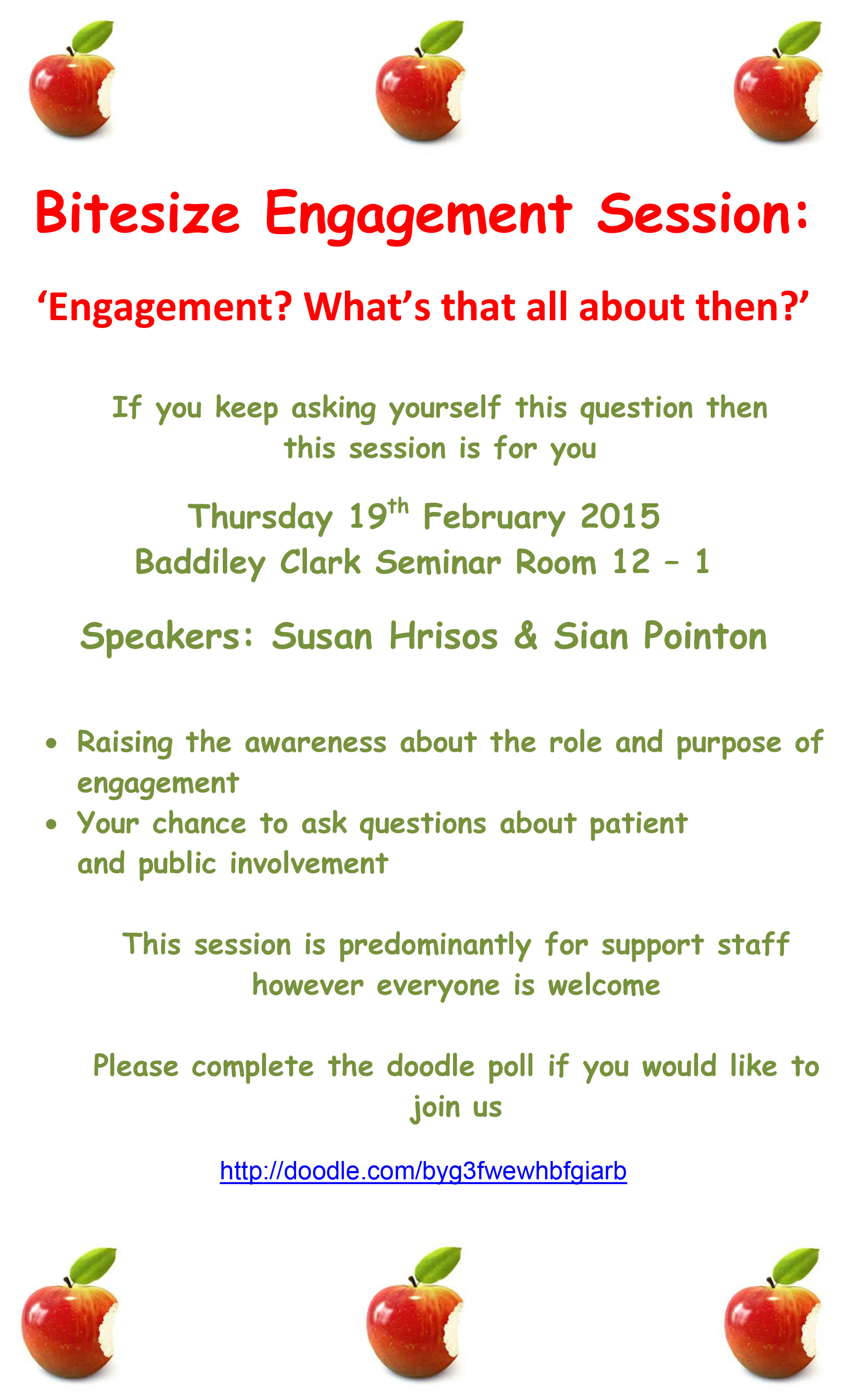 Bitesize Engagement Session poster 19th Feb 2015