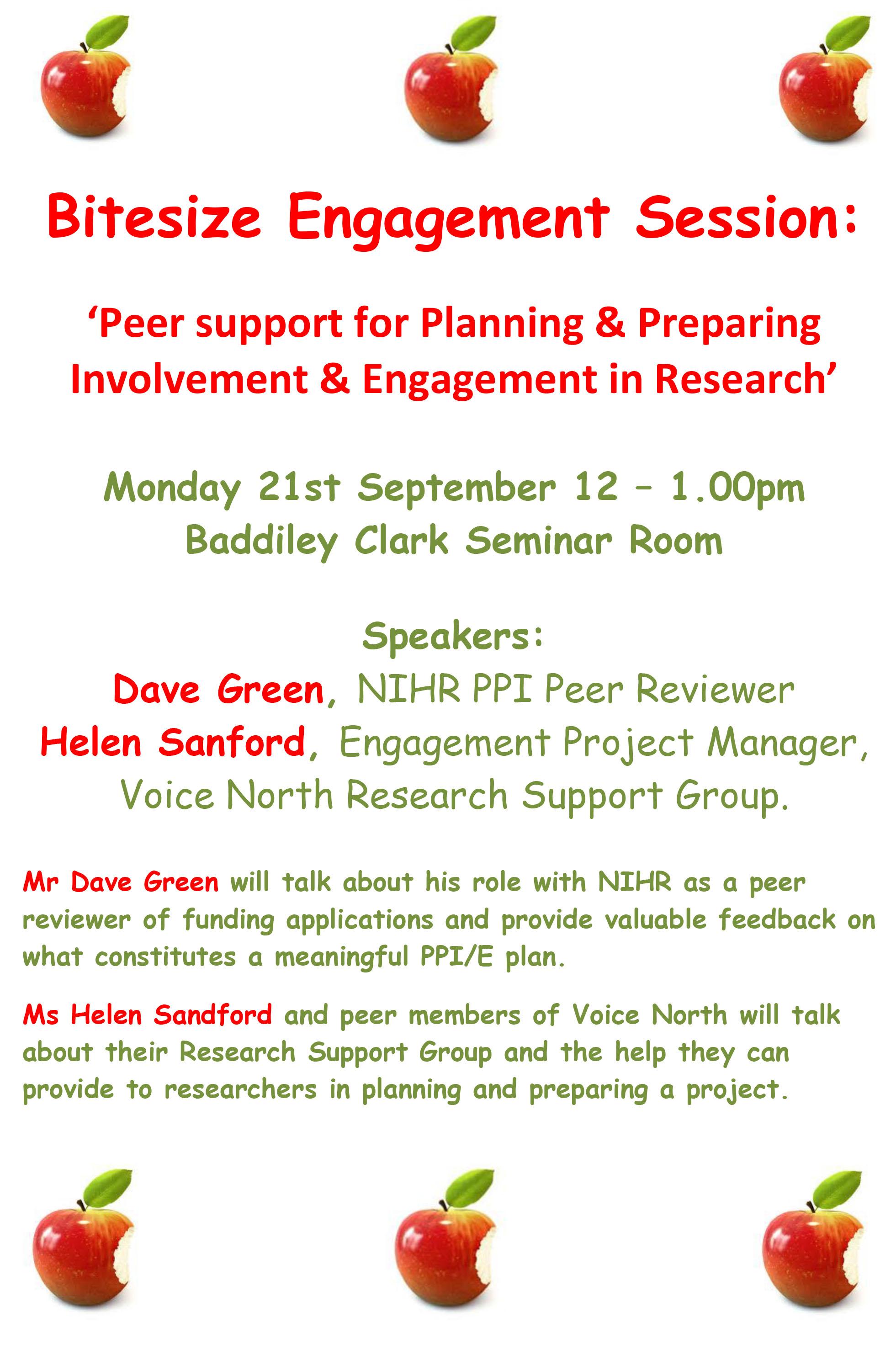 Bitesize Engagement Session poster 21st September Peer Support