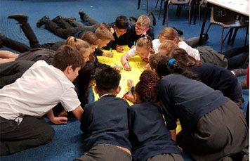 A group of school children kneeling on the floor and writing their ideas around a large yellow piece of paper