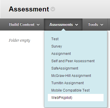 WebPA on Assessment Menu