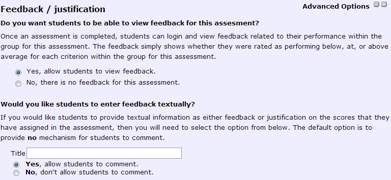 feedback options
