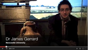 Dr Gerrard and a large amphora.