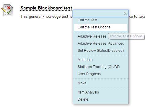 Edit test options