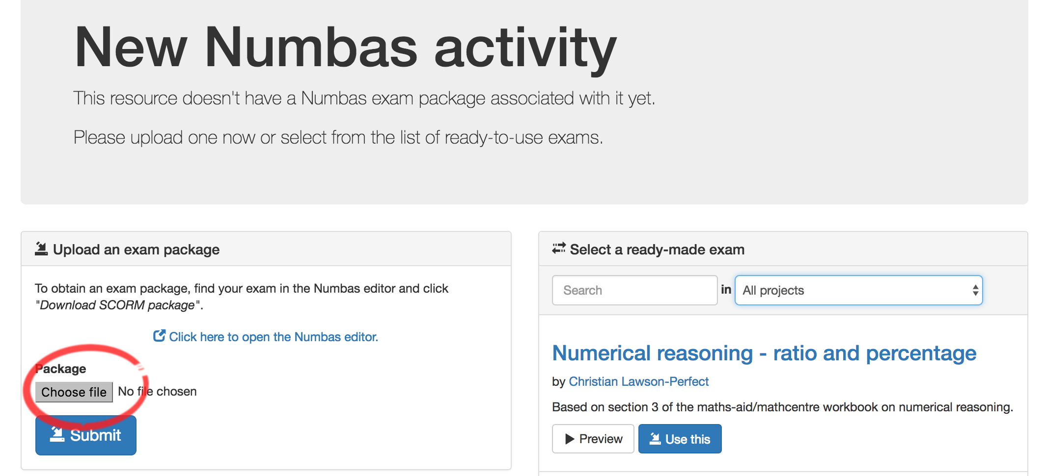 Adding a Numbas Test to Blackboard   Learning and Teaching