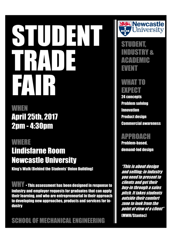 Advertising for a mechanical engineering student trade fair.