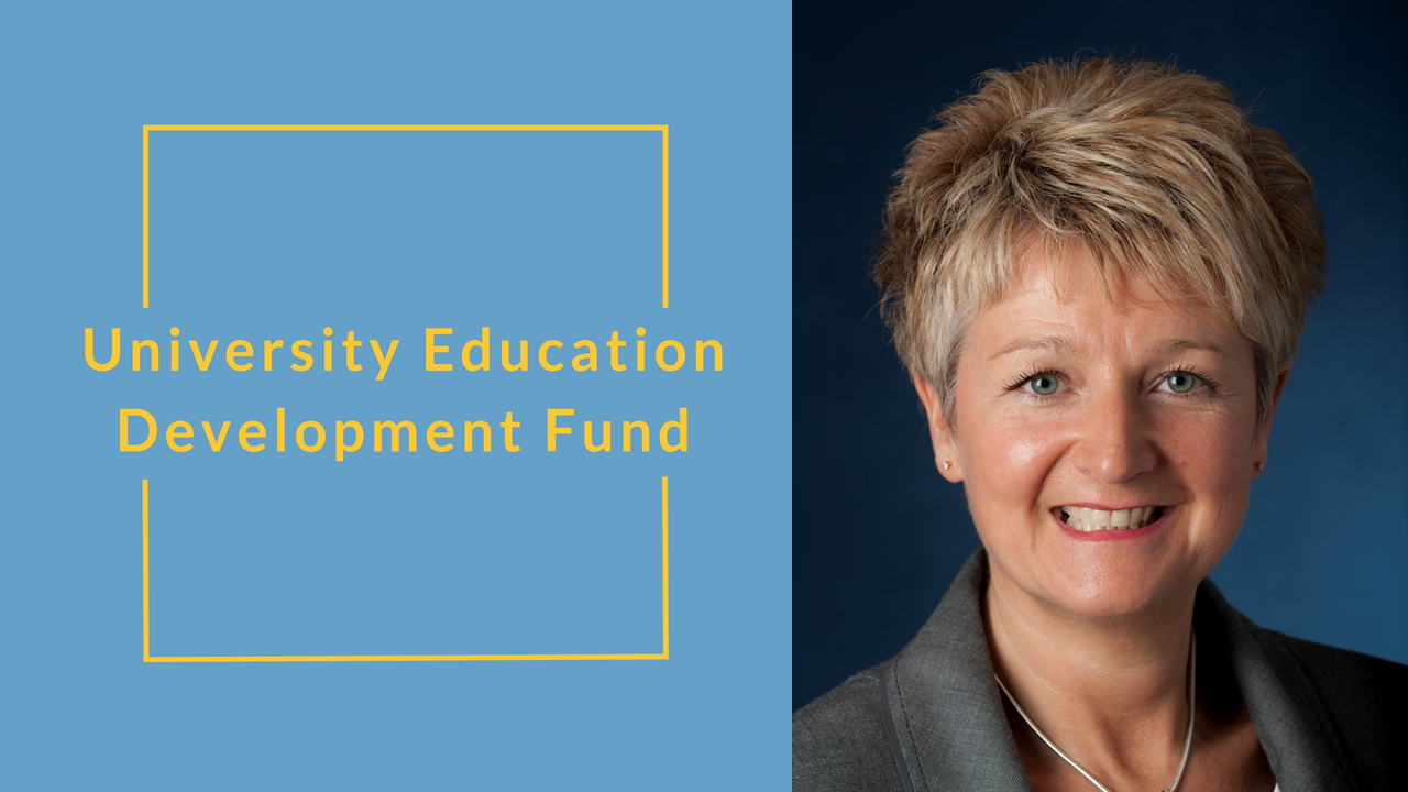 University Education Development Fund with a picture of Professor Suzanne Cholerton