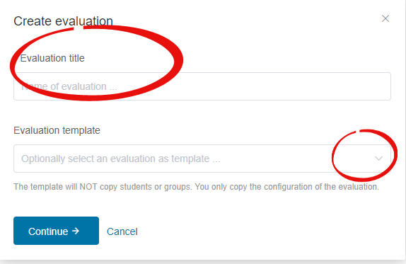 Buddycheck create evaluation screen with title entry and template selection hihglighted