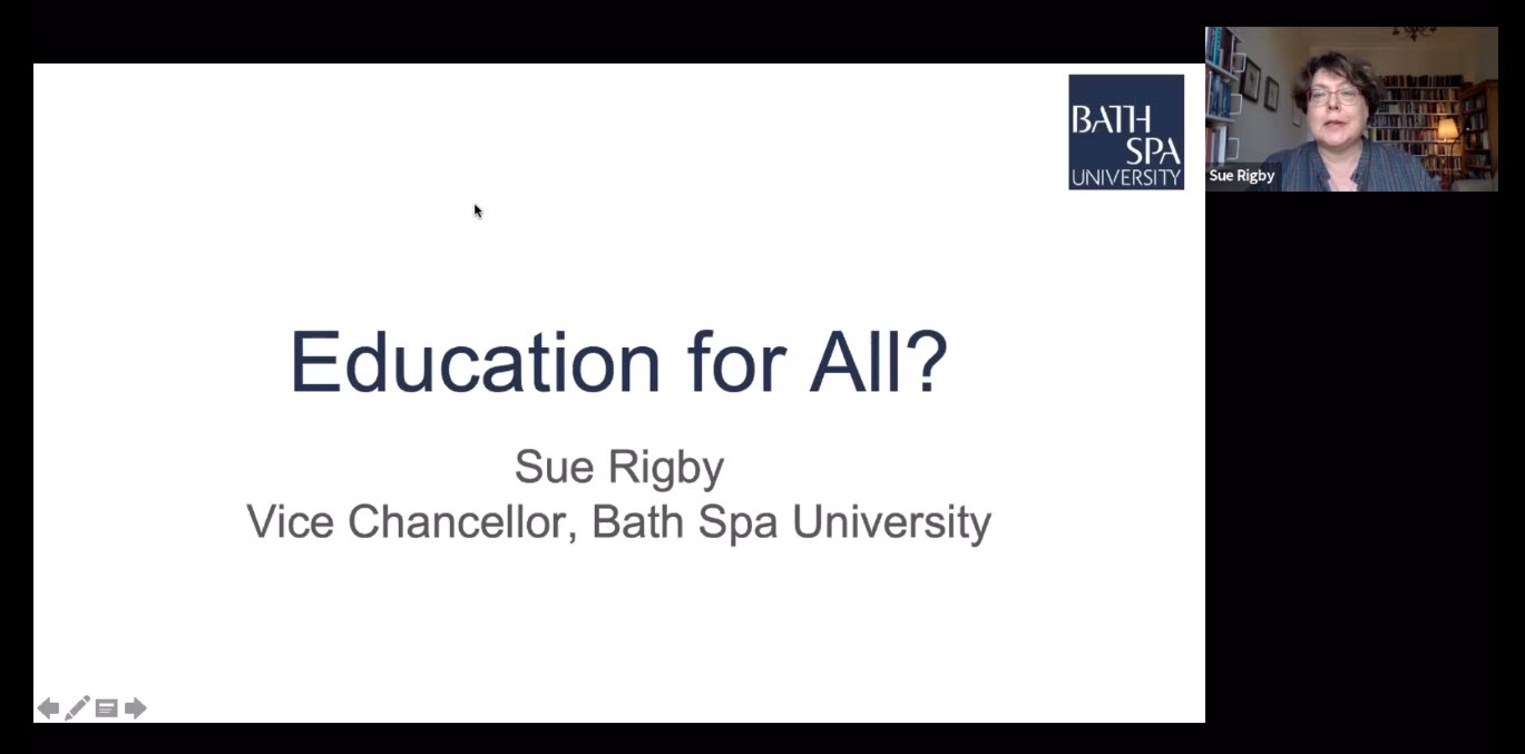 Education for all slide with small image of Sue Rigby