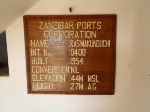 Zanzibar Port Corporation sign inside the 27 m lighthouse (44 m above sea level!)