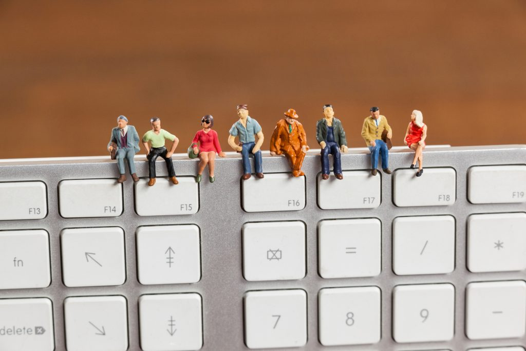Figurines on keyboard