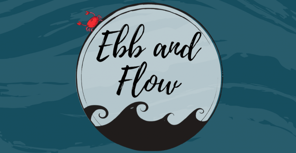 """A blue and white nautical logo reading """"Ebb and Flow"""""""