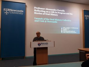 Professor Portelli at the launch of the Oral History Unit and Collective at Newcastle, 10 January 2018.