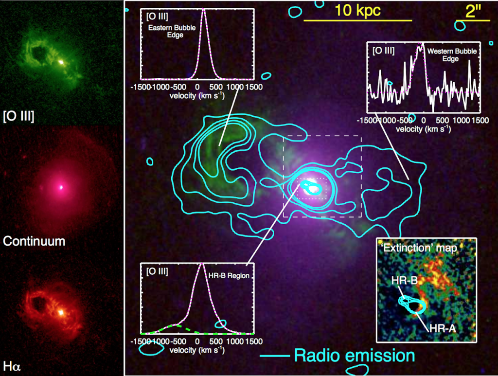 HST image and radio contours for the Teacup AGN from Harrison et al. 2015