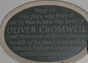 Plaque marking burial site of Oliver Cromwell's head in Sidney Sussex College, Cambridge