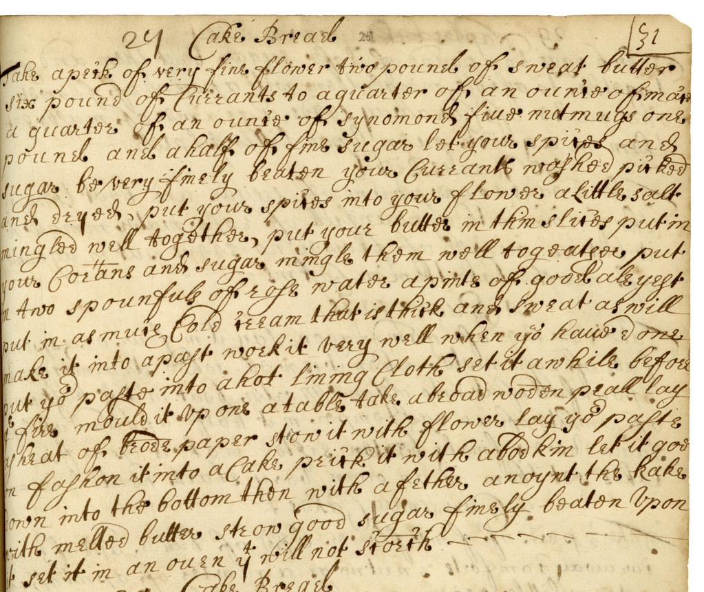 Misc Manuscripts 17th C recipe