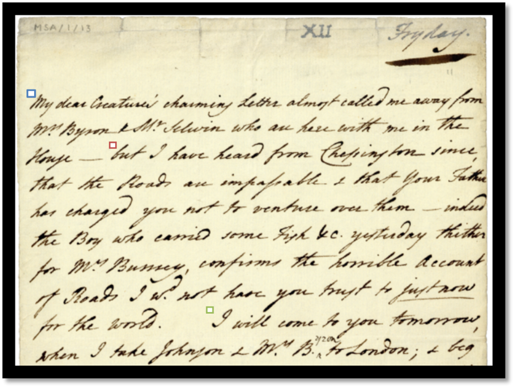 MSA-1-13 Letter From Hester Lynch Thrale To Fanny Burney - Part 1