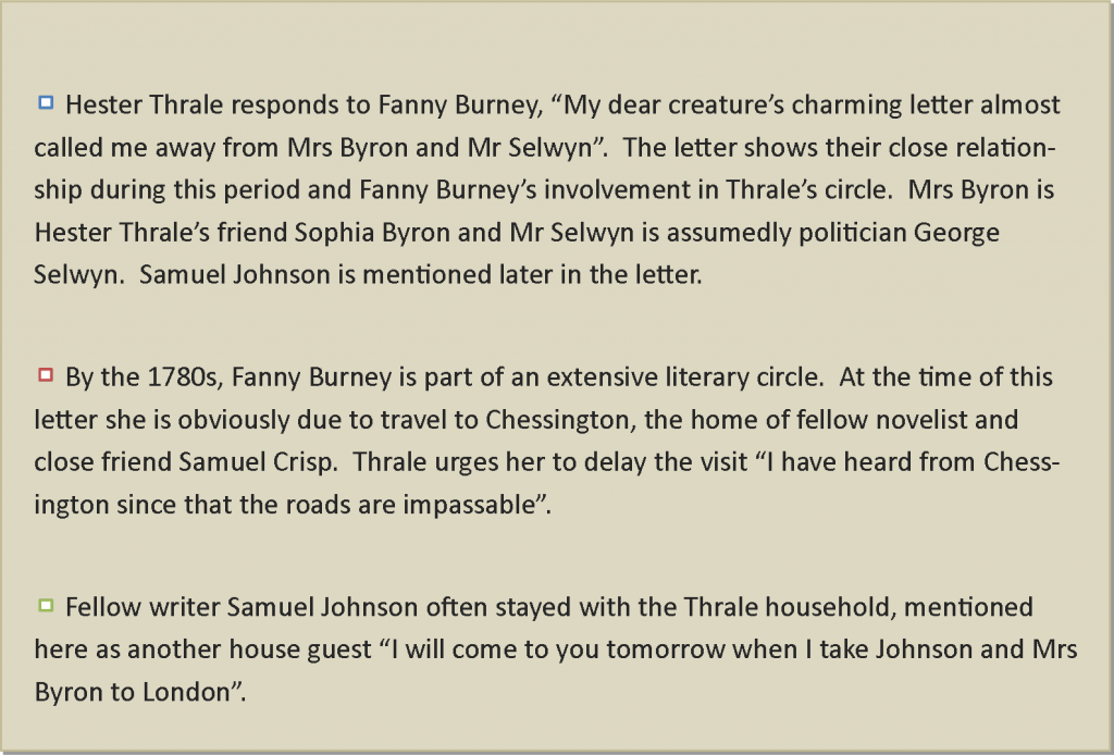 MSA-1-13 Letter From Hester Lynch Thrale To Fanny Burney - Part 1 Narrative - Copy