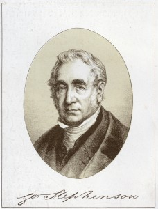 Engraving of George Stephenson from George Stephenson : the locomotive and the railway, 1881 (19th Century Collection, 19th C. Coll. 620.92 STE-1)