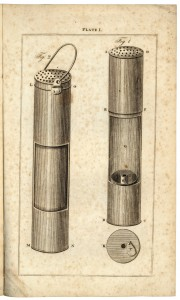 Illustration of Sir Humphrey Davy's safety lamp from Practical hints on the application of wire-gauze to lamps : for preventing explosions in coal mines, 1816 (Rare Books, RB942.8 TYN(VI)2)