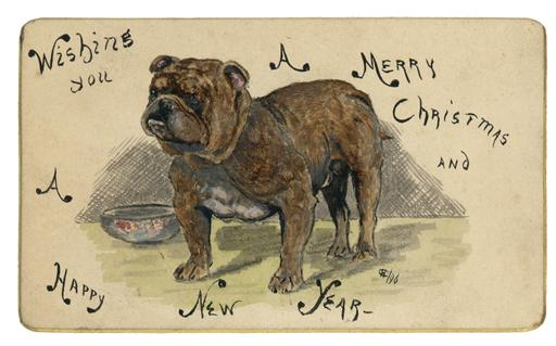 Hand-painted christmas card from 'Hay'