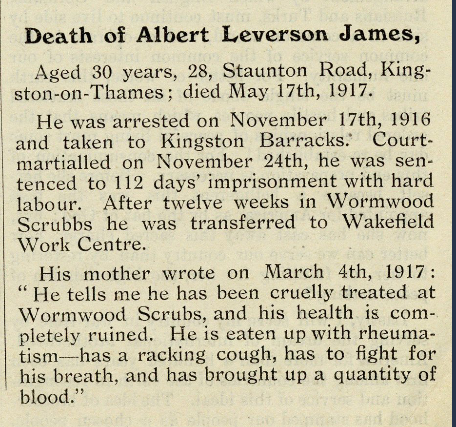 Death of Albert Leverson James, extract from No. 8. News Sheet, issued by The Central News Bureau, c. 1917 (20th Century Collection, 343.0122 CEN )