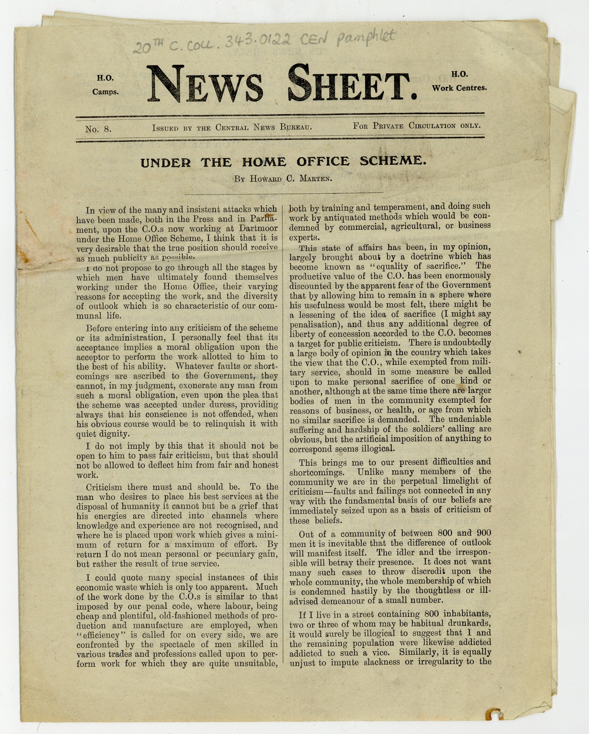 Page 1 from News Sheet, No. 8, c. 1917 (20th Century Collection, 343.0122 CEN)
