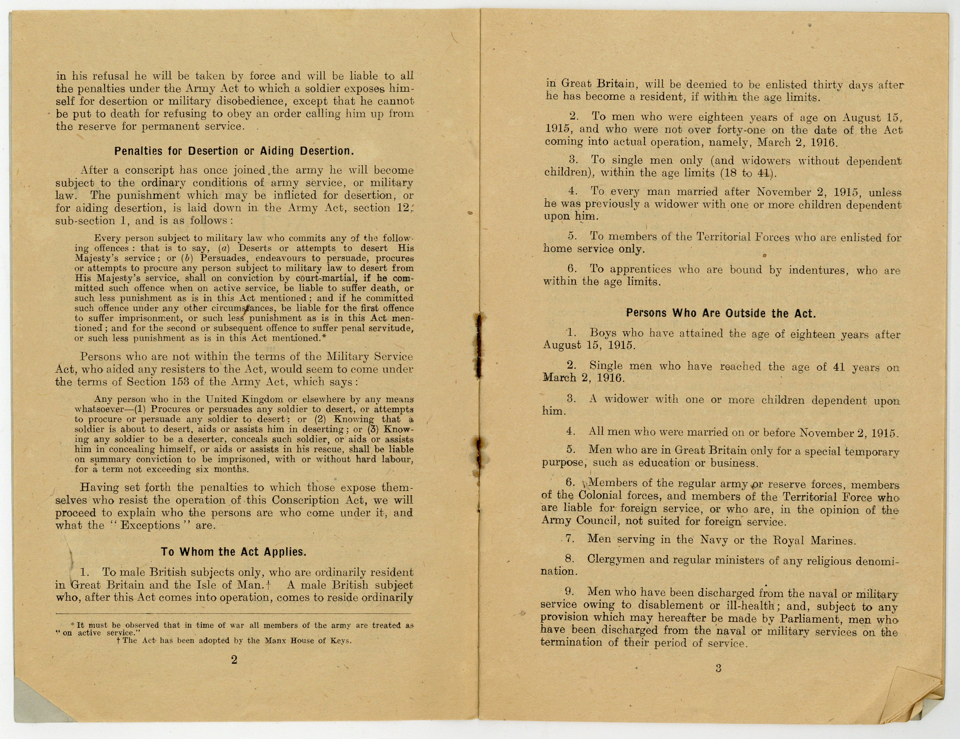 Pages 2-3 of The Military Service Act Fully and Clearly Explained, outlining Penalties for Disertion of Aiding Disertion, To Whom the Act Applies and Persons who are Outside the Act, by Philip Snowden (MP), 1916 (20th Century Collection, 343.0122 SNO)