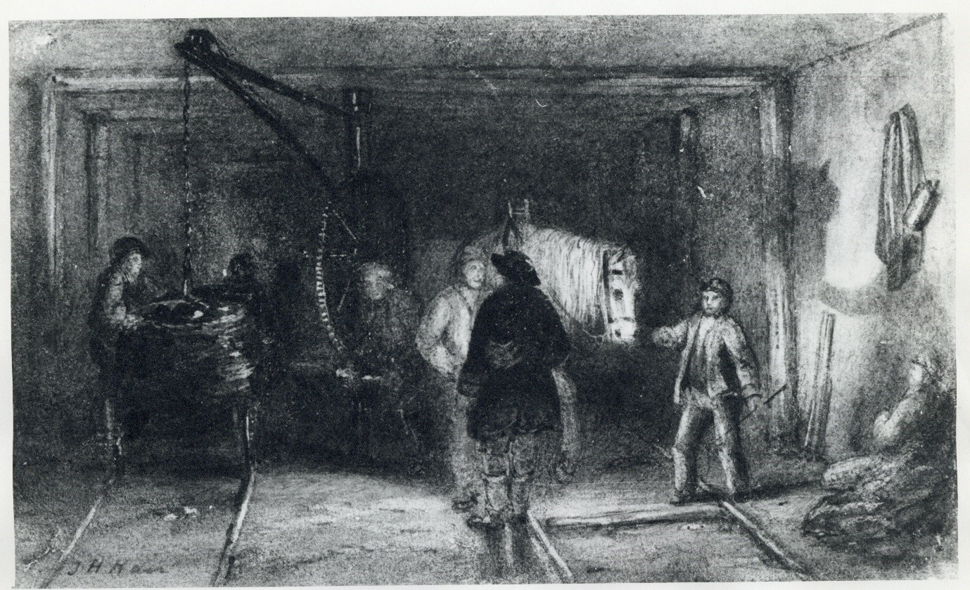 Crane for Loading the Rollies, by Thomas Hair. Date unknown. This is one of the few illustrations by Hair that shows the subterranean conditions of the pit.