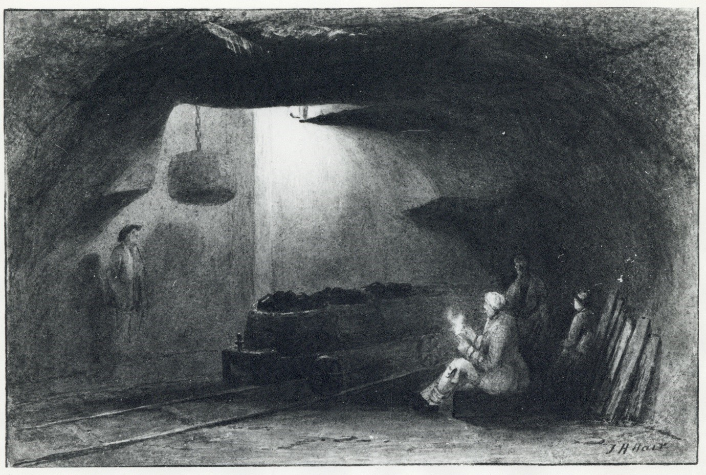 Bottom of the Shaft, Walbottle Colliery, 1844, by Thomas Hair.