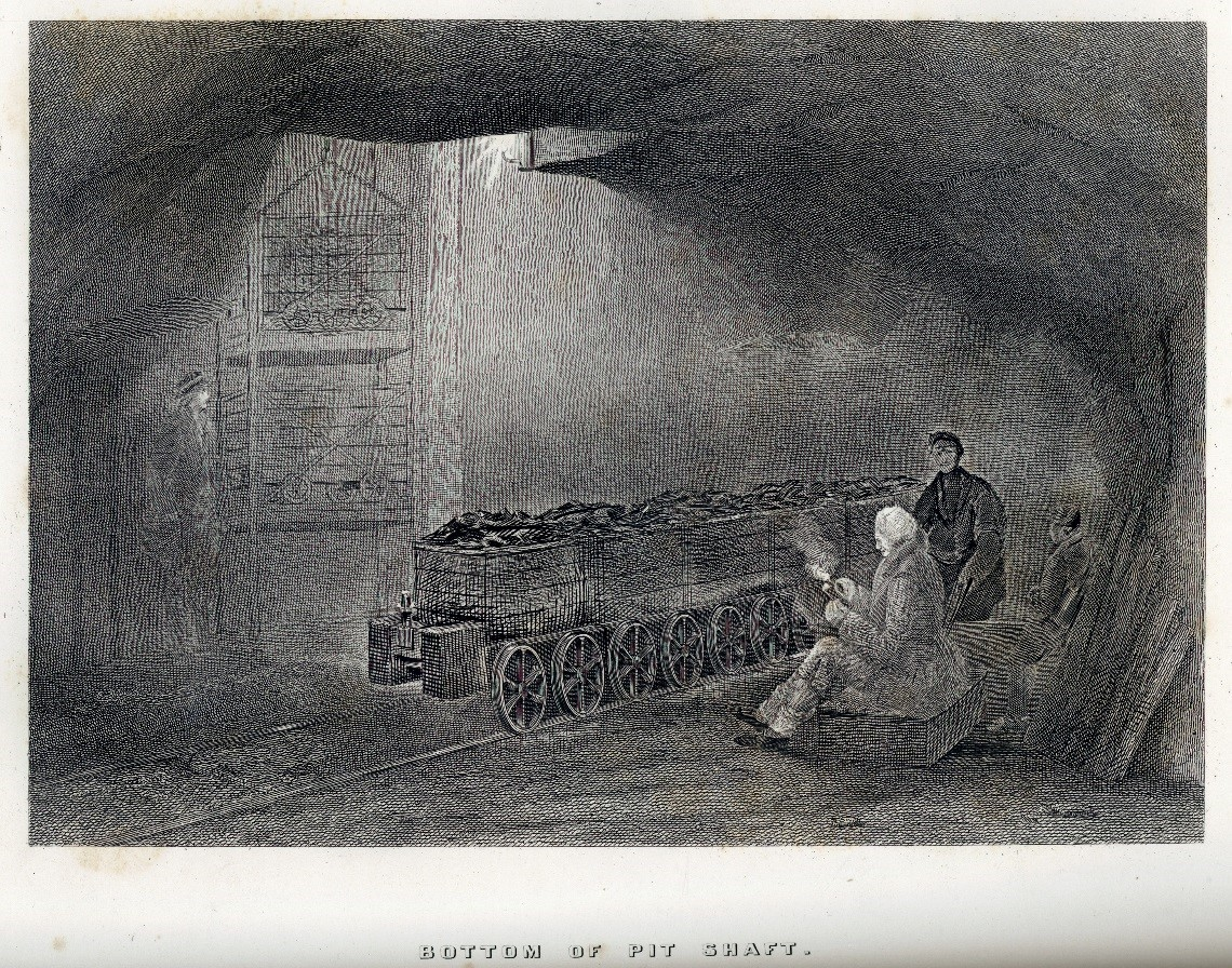 Bottom of Pit Shaft, from Fordyce's Coal and Iron, 1860. Note the addition of a cage on the left hand side, which replaced the corves in Hair's original. Most prominent is the removal of the rollies and their replacement with the wheeled tubs carrying coal.