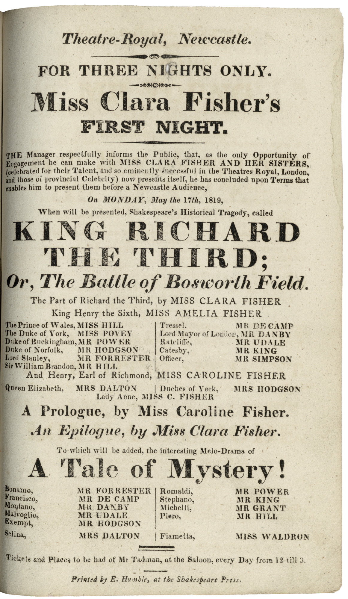 King Richard The Third playbilll (RB 792 (4282)–NEW).