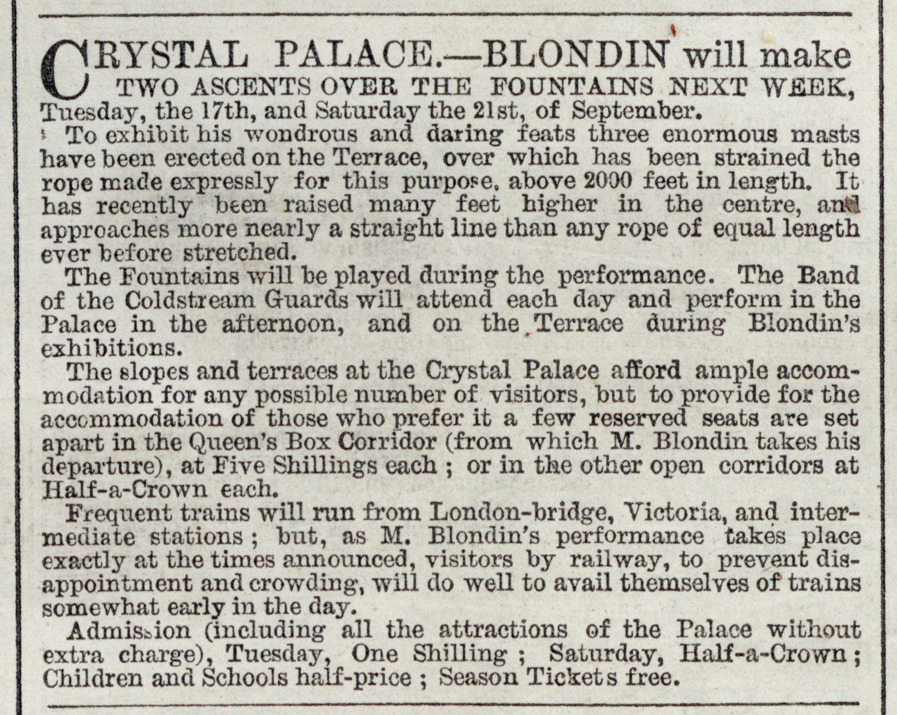 Advertisement for Blondin's shows at the Crystal Palace from: Illustrated London News, September 14, 1861