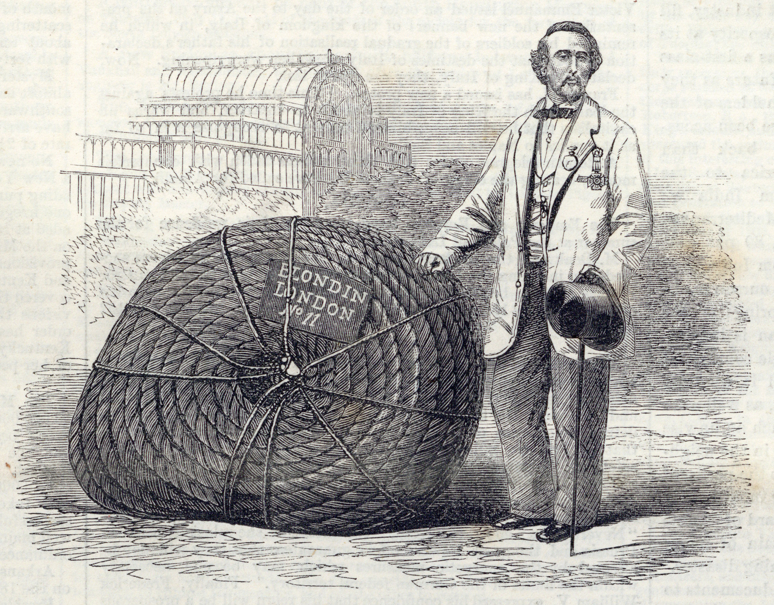 Blondin and the rope he needed for performances at the Crystal Palace from: Illustrated London News, June 8, 1861
