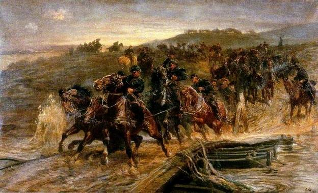 French Artillery Crossing the Flooded Aisne and Saving the Guns, John Charlton (Snr), 1915, Laing Art Gallery Collection
