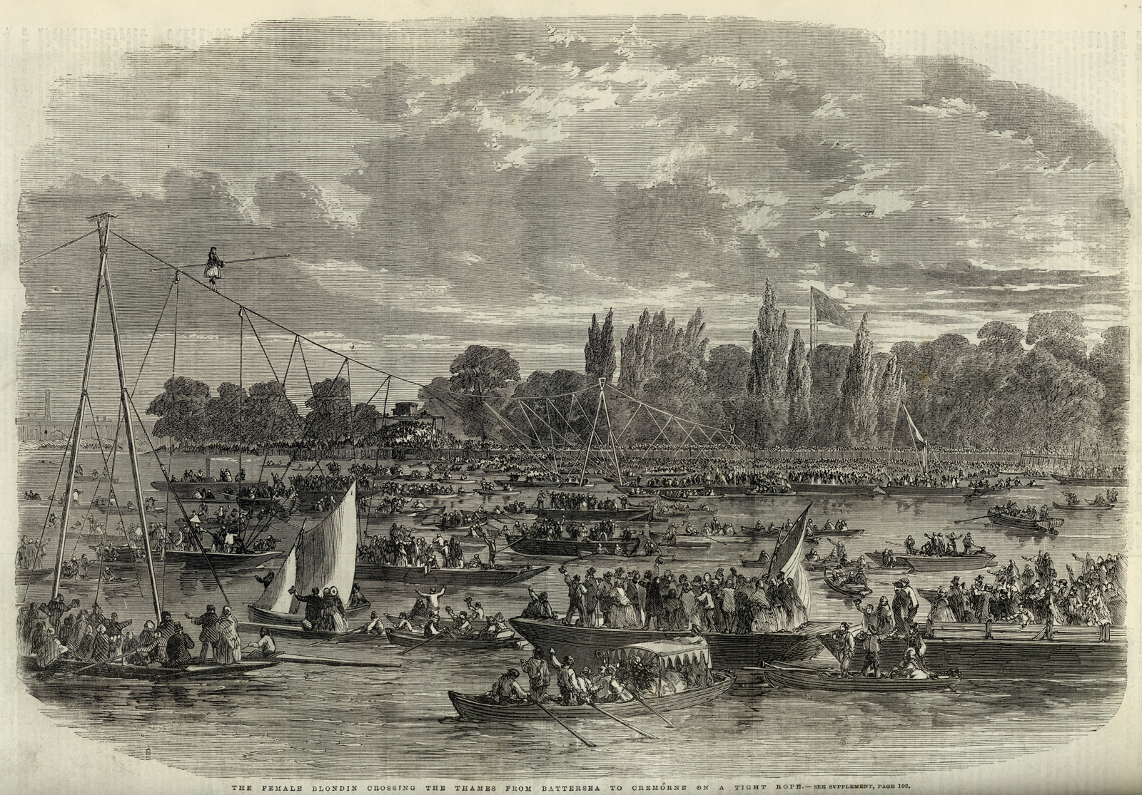 The Female Blondin crossing the Thames from Battersea to Cremorne on a tight rope from: Illustrated London News, August 24, 1861