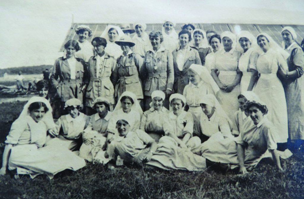 Black and white group photograph of staff at the Royaumont Hospital